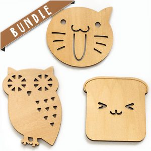 Shop online: Cute design wooden drink coaster bundle