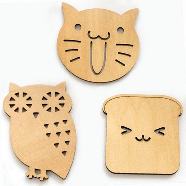 Shop online: Cute design wooden drink coasters