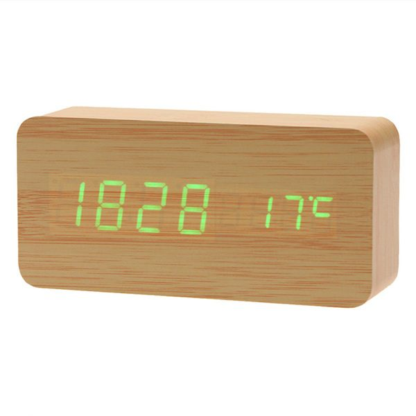 Shop Wooden LED Digital Alarm Clock (Tan & Green Colour)