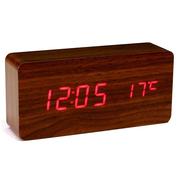 Shop Wooden LED Digital Alarm Clock (Brown & Red Colour)