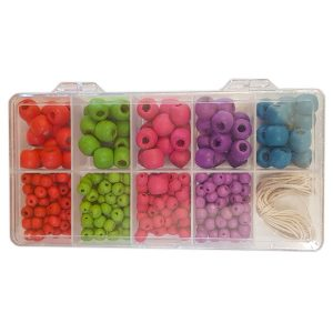 wooden bead box colourful
